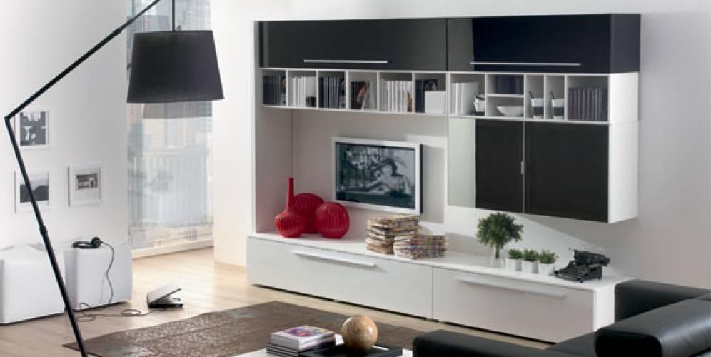 soggiorno moderno bianco e nero